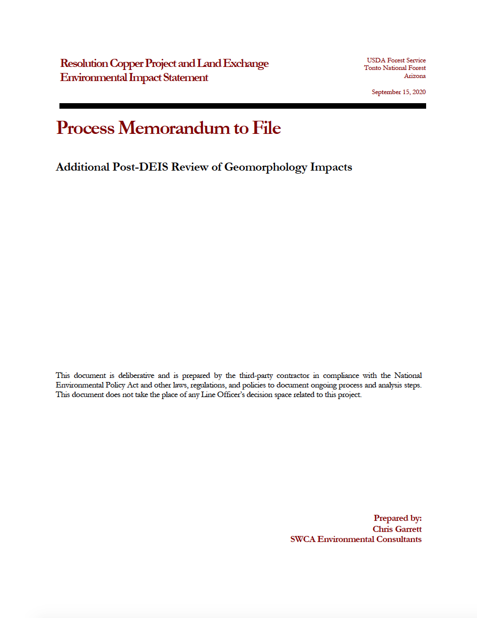 Thumbnail image of document cover: Additional Post-DEIS Review of Geomorphology Impacts