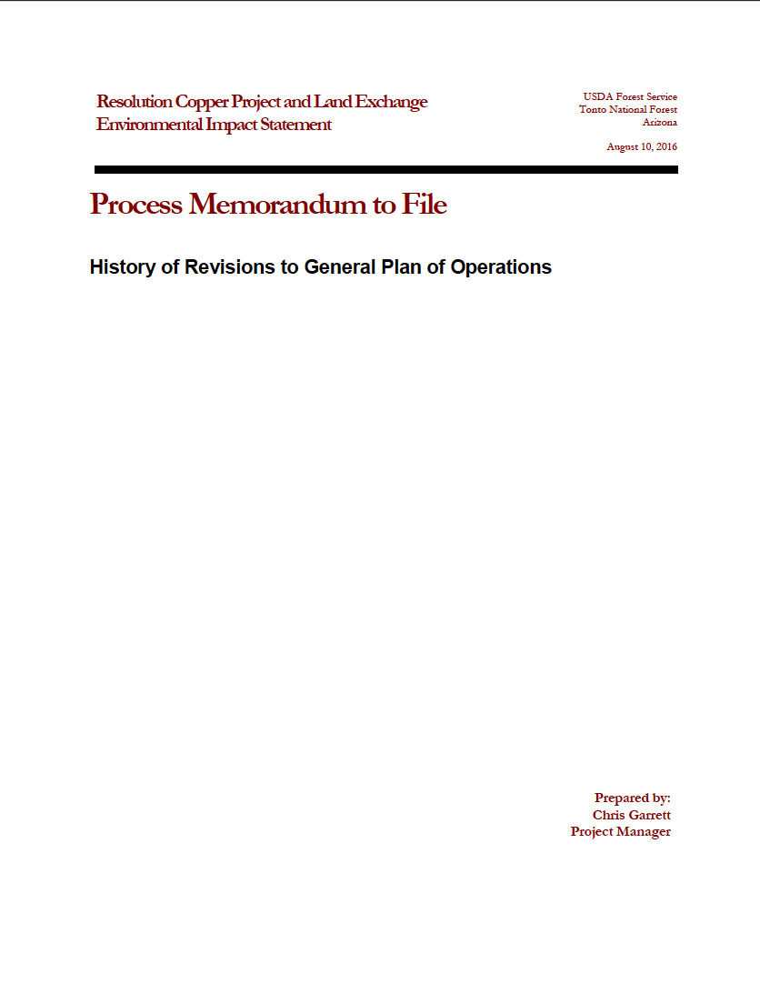 Thumbnail image of document cover: History of Revisions to General Plan of Operations