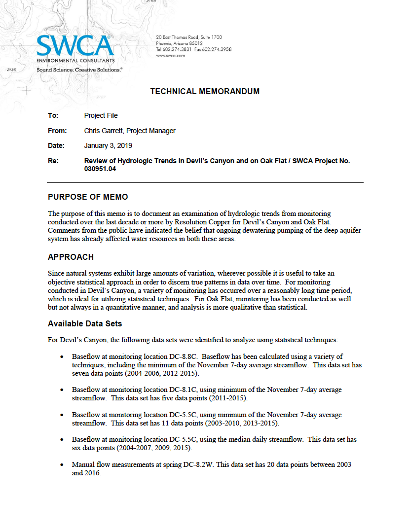 Thumbnail image of document cover: Review of Hydrologic Trends in Devil's Canyon and on Oak Flat