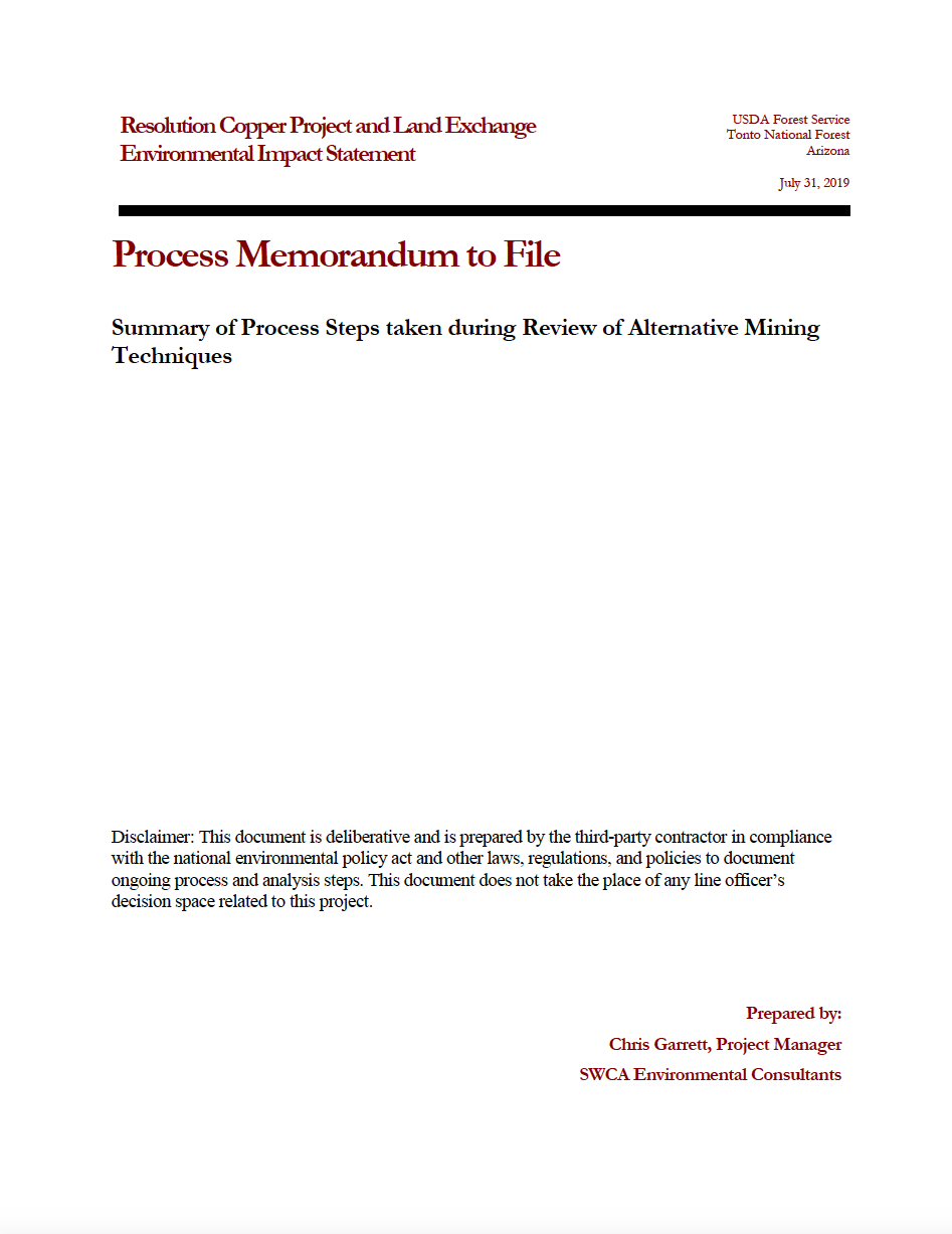 Thumbnail image of document cover: Summary of Process Steps taken during Review of Alternative Mining Techniques