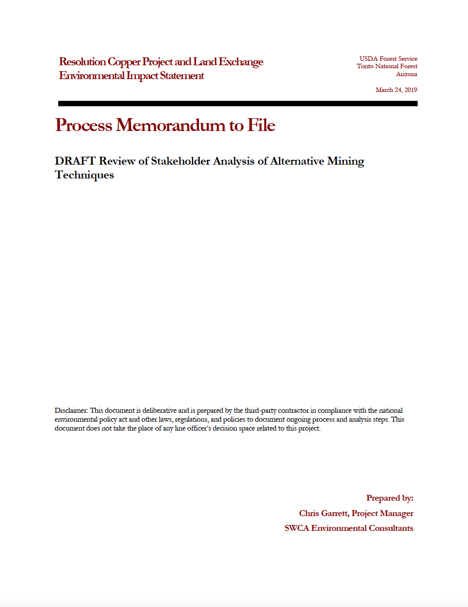 Thumbnail image of document cover: DRAFT - Review of Stakeholder Analysis of Alternativve Mining Techniques