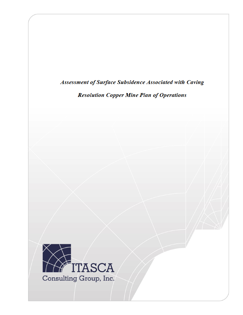 Thumbnail image of document cover: Assessment of Surface Subsidence Associated with Caving, Resolution Copper Mine Plan of Operations