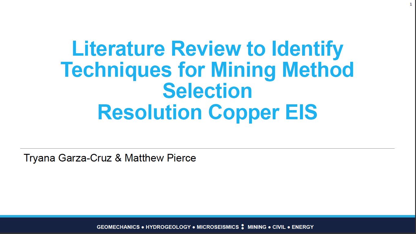 Thumbnail image of document cover: Literature Review to Identify Techniques for Mining Method Selection: Resolution Copper EIS