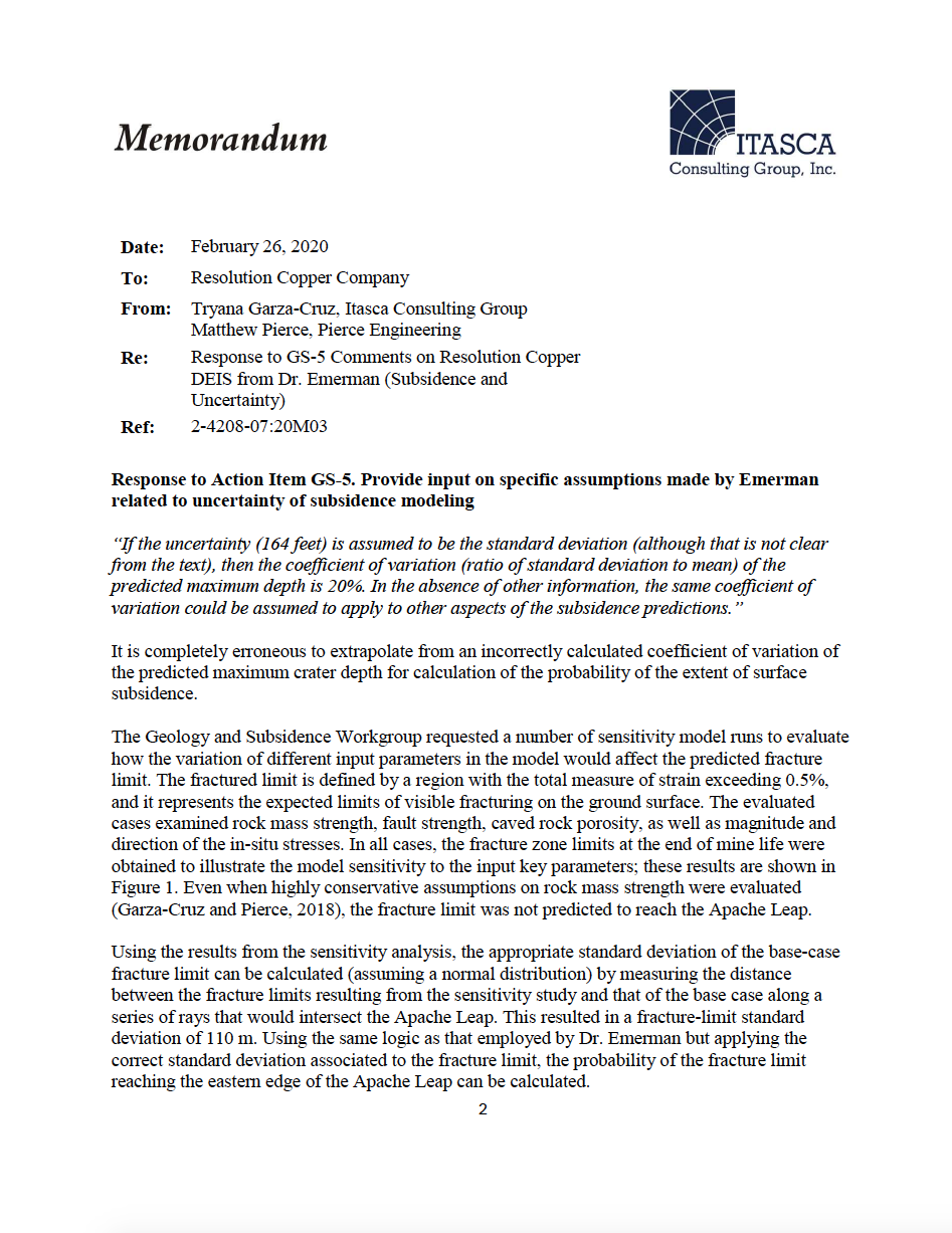 Thumbnail image of document cover: Response to GS-5 Comments on Resolution Copper DEIS from Dr. Emerman (Subsidence and Uncertainty)