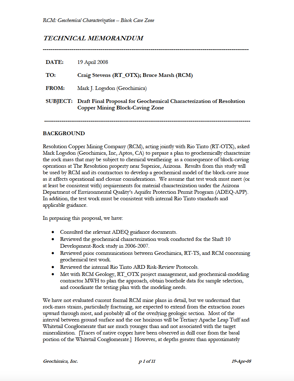Thumbnail image of document cover: Draft Final Proposal for Geochemical Characterization of Resolution Copper Mining Block-Caving Zone