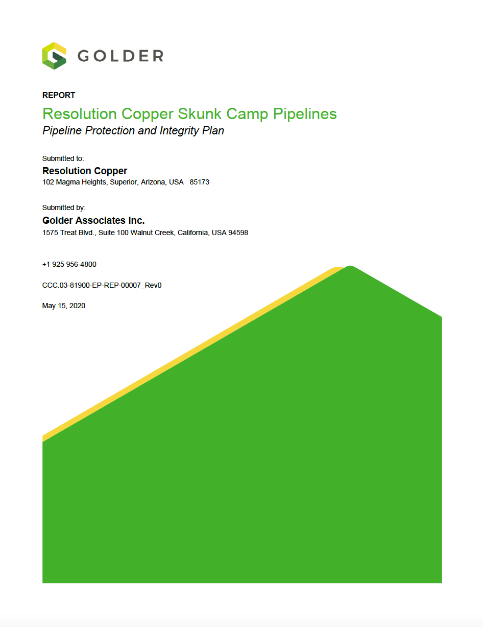 Thumbnail image of document cover: Resolution Copper Skunk Camp Pipelines: Pipeline Protection and Integrity Plan