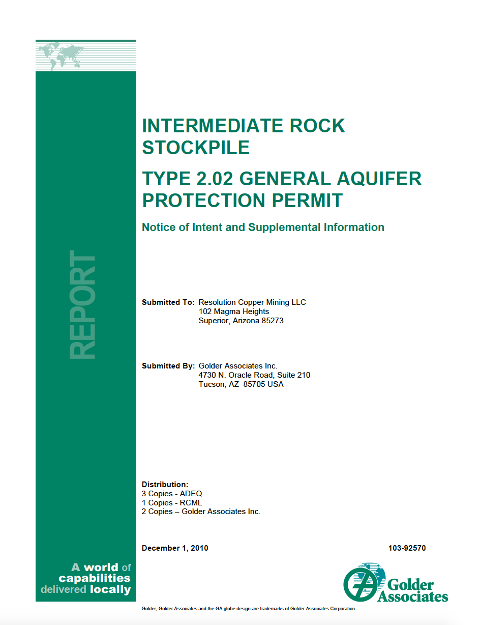 Thumbnail image of document cover: Intermediate Rock Stockpile Type 2.02 General Aquifer Protection Permit
