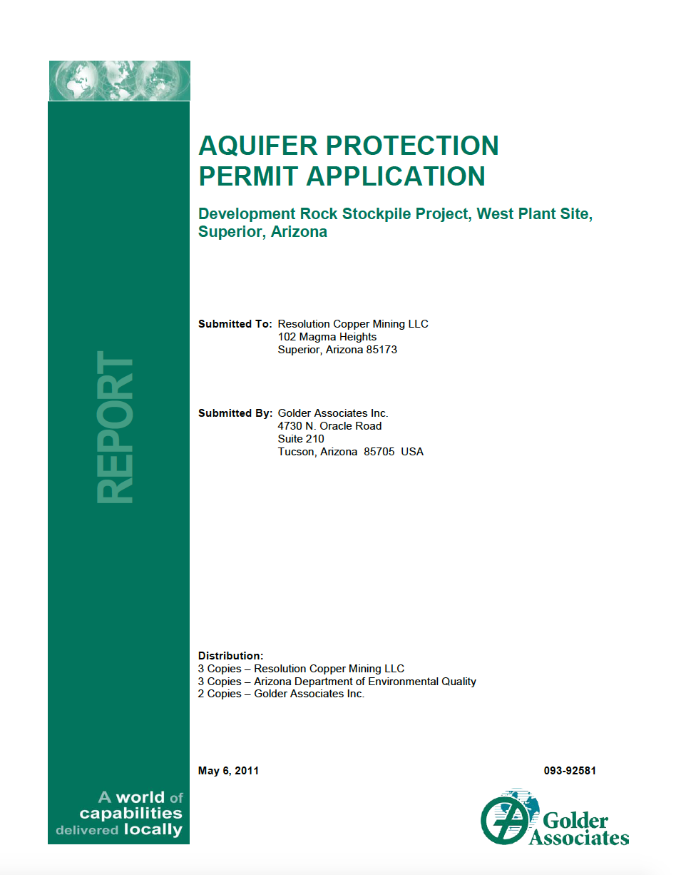 Thumbnail image of document cover: Aquifer Protection Permit Application Development Rock Stockpile Project, West Plant