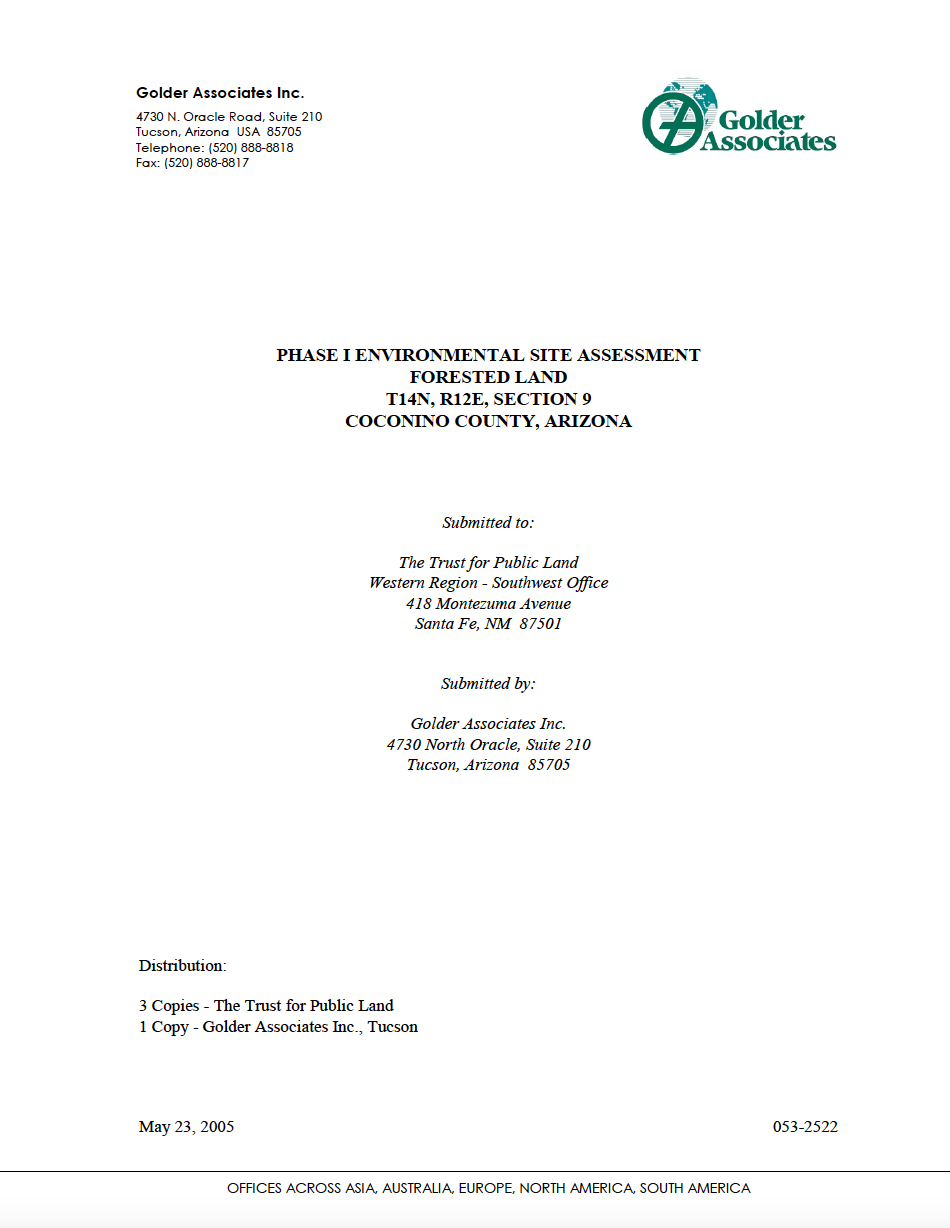 Thumbnail image of document cover: Phase I Environmental Site Assessment Forested Land