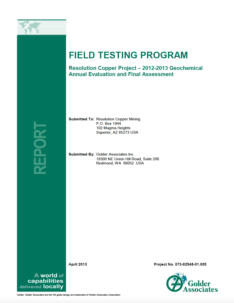 Thumbnail image of document cover: Field Testing Program, Resolution Copper Project – 2012-2013 Geochemical Annual Evaluation and Final Assessment