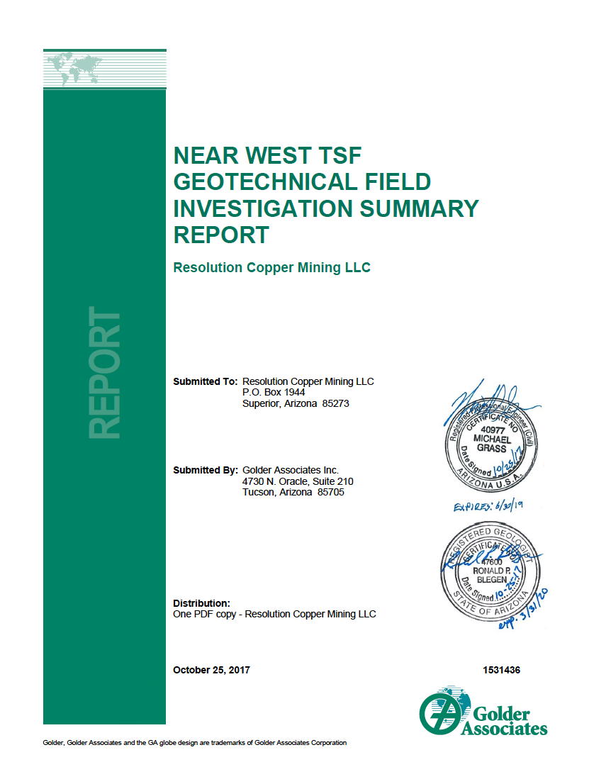 Thumbnail image of document cover: Near West TSF Geotechnical Field Investigation Summary Report