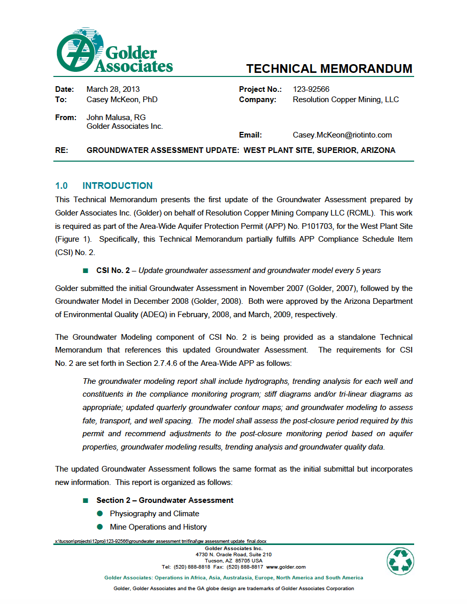 Thumbnail image of document cover: Groundwater Assessment Update: West Plant Site, Superior, Arizona
