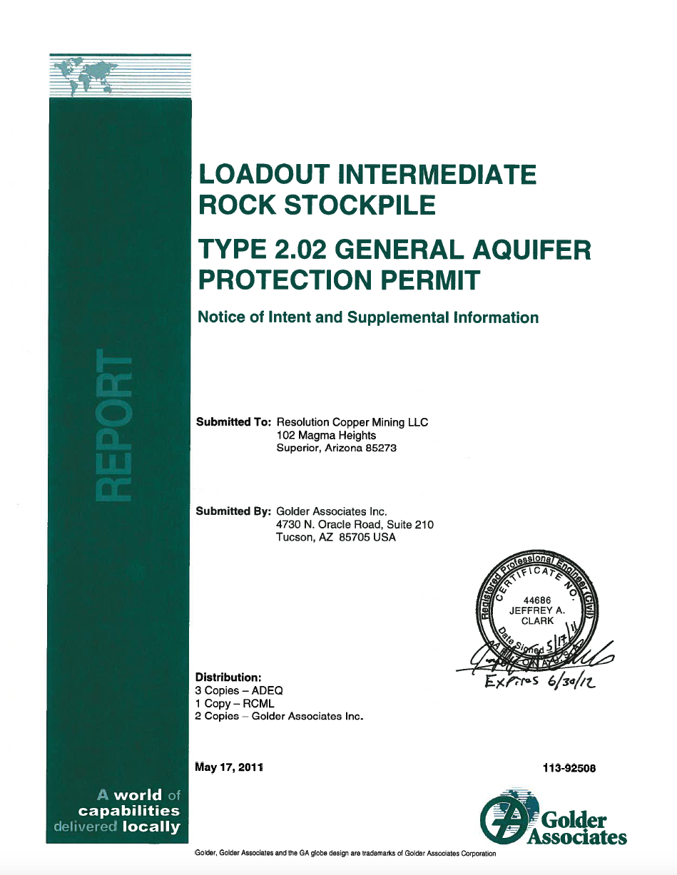 Thumbnail image of document cover: Loadout Intermediate Rock Stockpile Type 2.02 General Aquifer Protection Permit