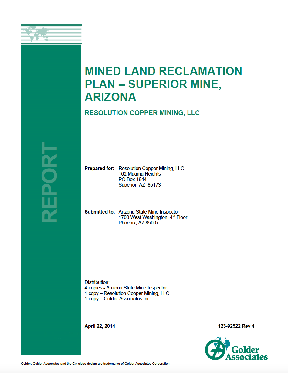 Thumbnail image of document cover: Mined Land Reclamation Plan – Superior Mine, Arizona