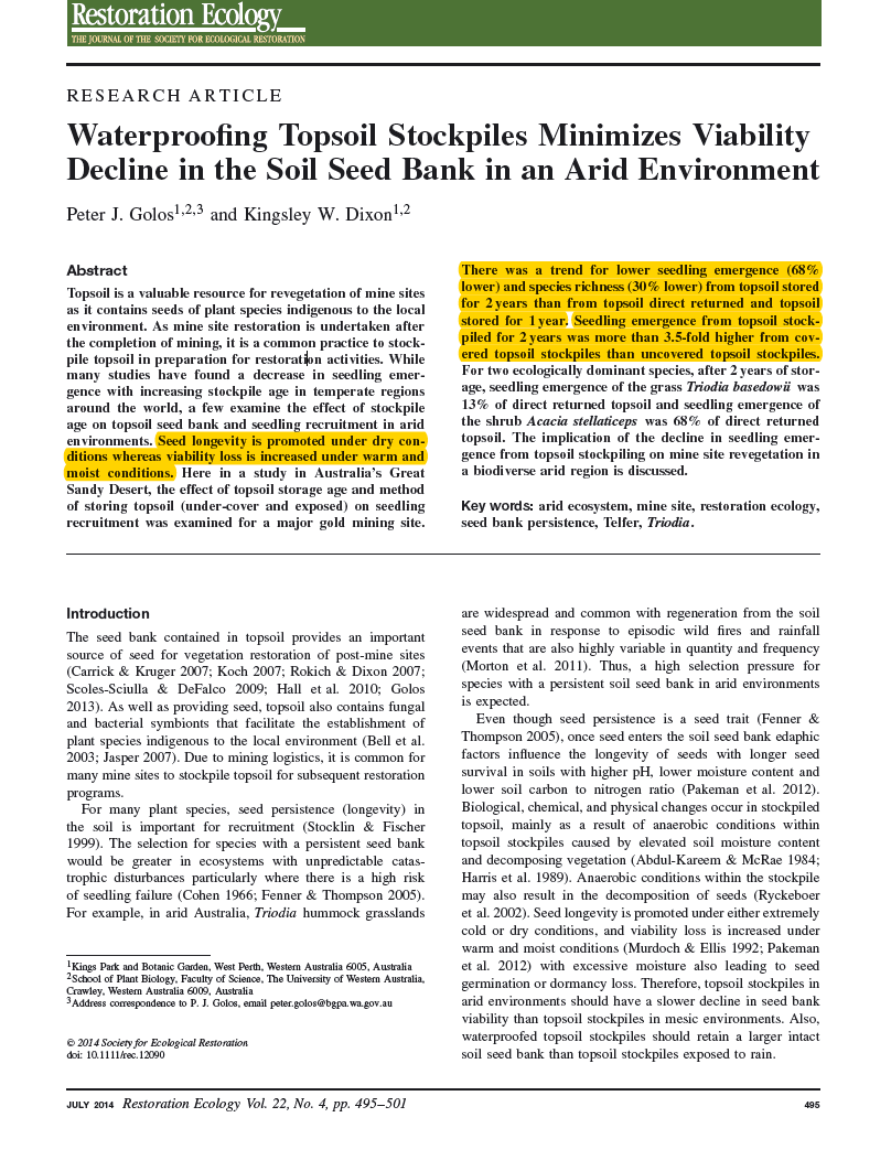 Thumbnail image of document cover: Waterproofing Topsoil Stockpiles Minimizes Viability Decline in the Soil Seed Bank in an Arid Environment