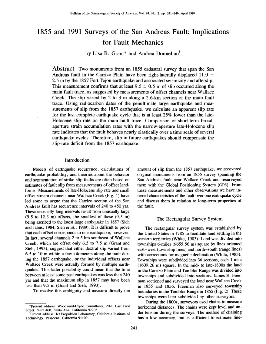 Thumbnail image of document cover: 1855 and 1991 Surveys of the San Andreas Fault: Implications for Fault Mechanics