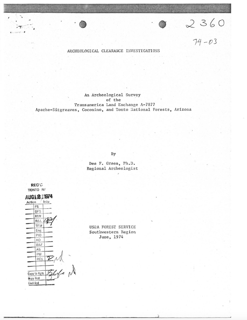 Thumbnail image of document cover: An Archaeological Survey of the Transamerica Land Exchange A-7877 Apache Sitgreaves, Coconino, and Tonto National Forests, Arizona