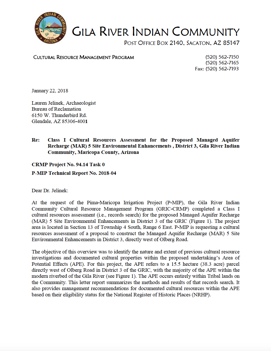 Thumbnail image of document cover: Class I Cultural Resources Assessment for the Proposed Managed Aquifer Recharge (MAR) 5 Site Environmental Enhancements