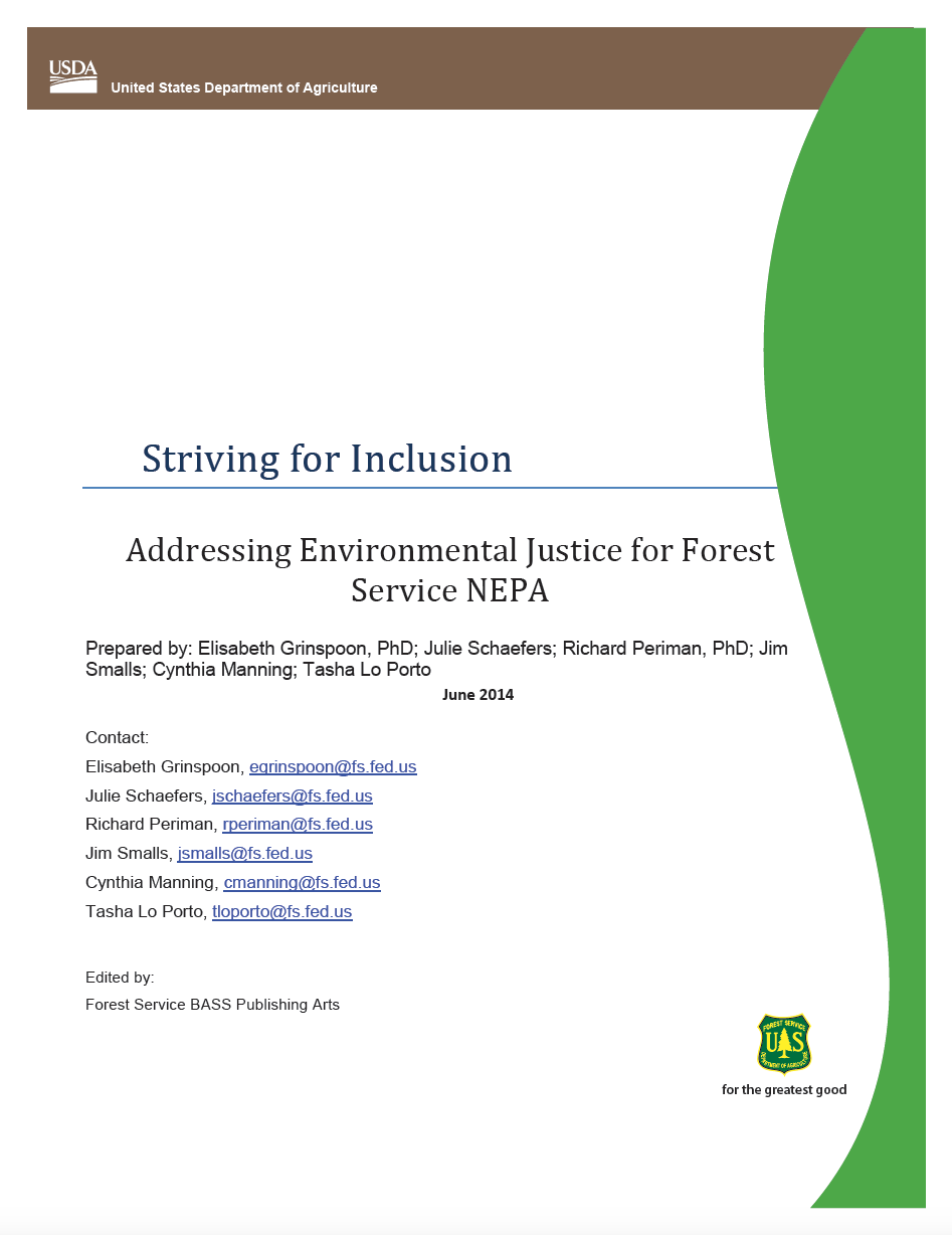 Thumbnail image of document cover: Striving for Inclusion: Addressing Environmental Justice for Forest Service NEPA