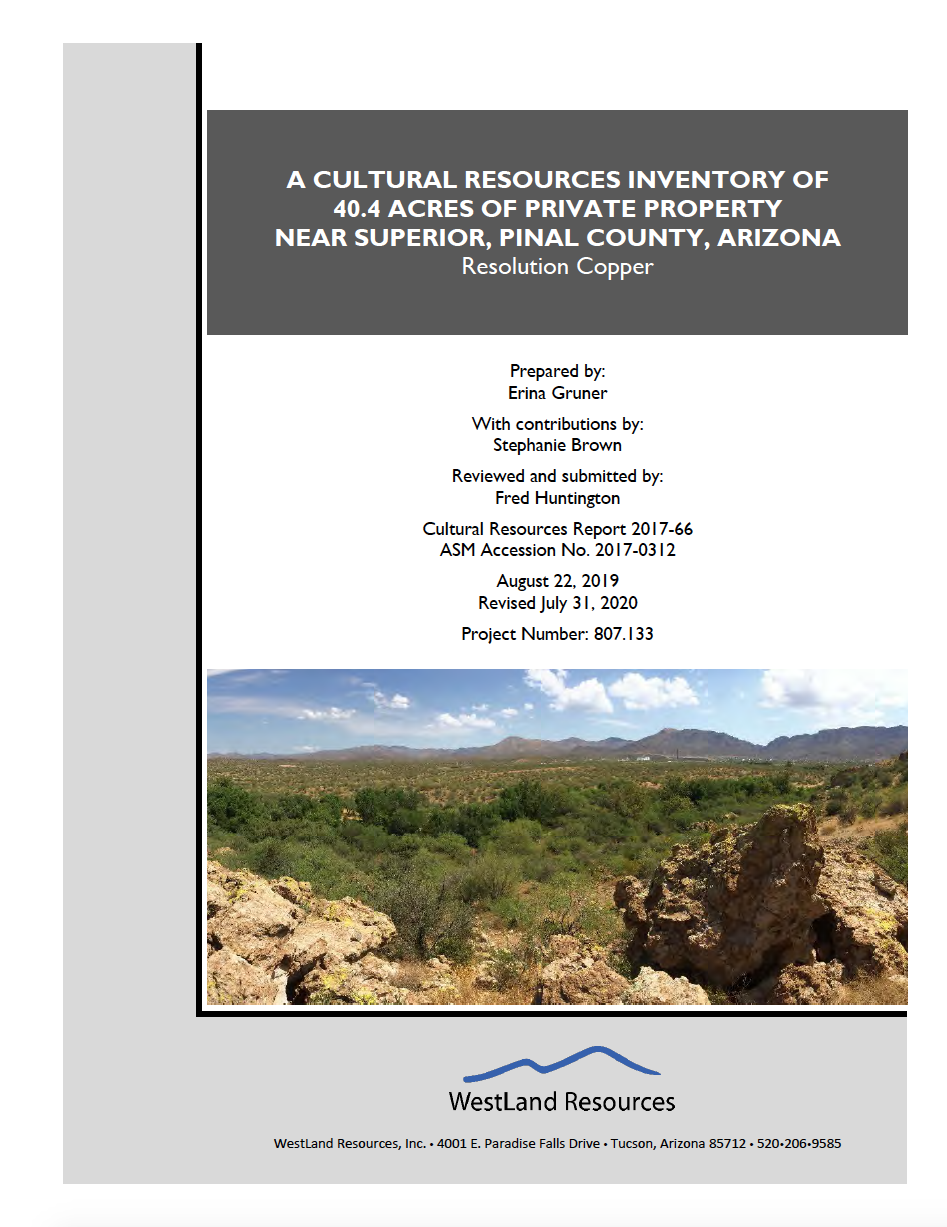 Thumbnail image of document cover: A Cultural Resources Inventory of 40.4 Acres of Private Property near Superior, Pinal County, Arizona