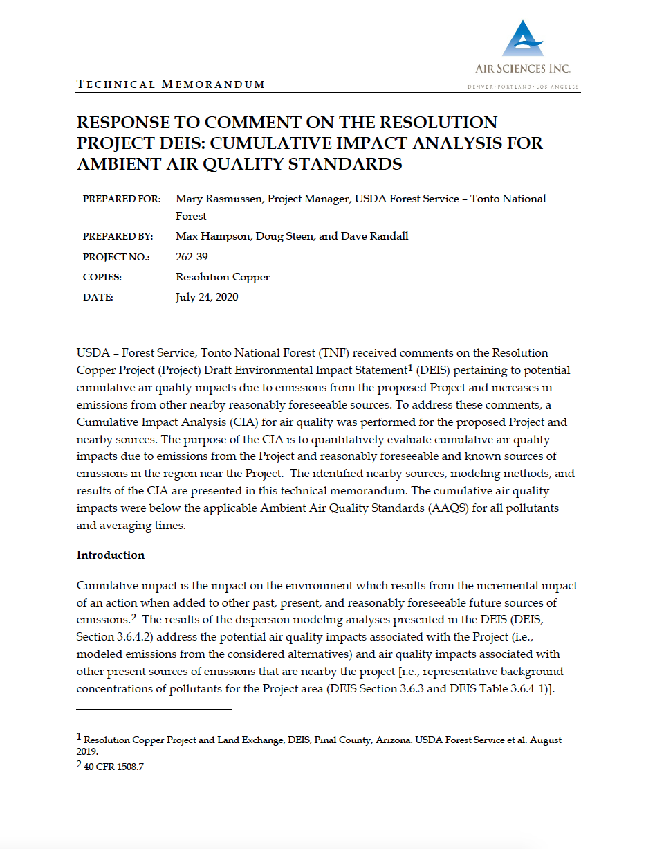 Thumbnail image of document cover: Response to Comment on the Resolution Project DEIS: Cumulative Impact Analysis for Ambient Air Quality Standards