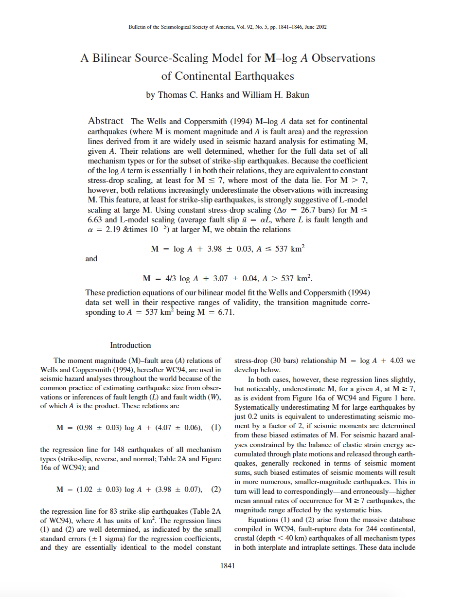 Thumbnail image of document cover: A Bilinear Source-Scaling Model for M–log A Observations of Continental Earthquakes