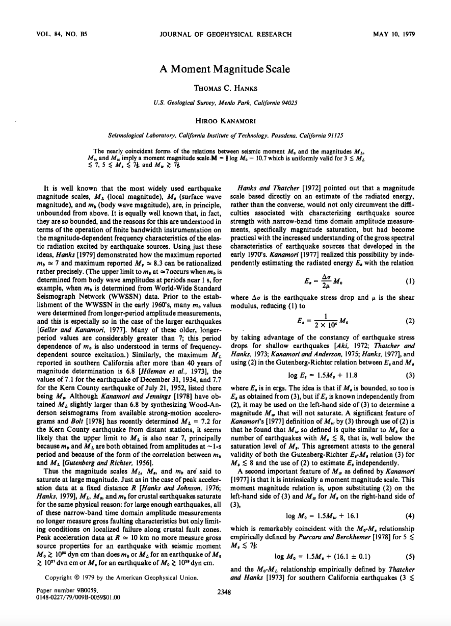Thumbnail image of document cover: A Moment Magnitude Scale