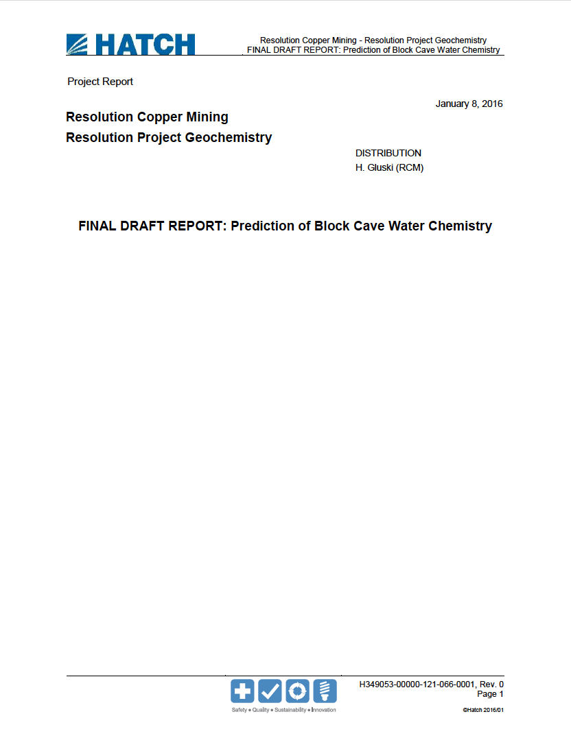 Thumbnail image of document cover: Resolution Project Geochemistry: Prediction of Block Cave Water Chemistry