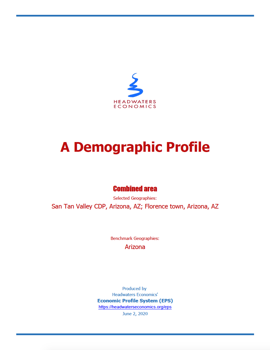 Thumbnail image of document cover: A Demographic Profile: San Tan Valley, Arizona; Florence, Arizona