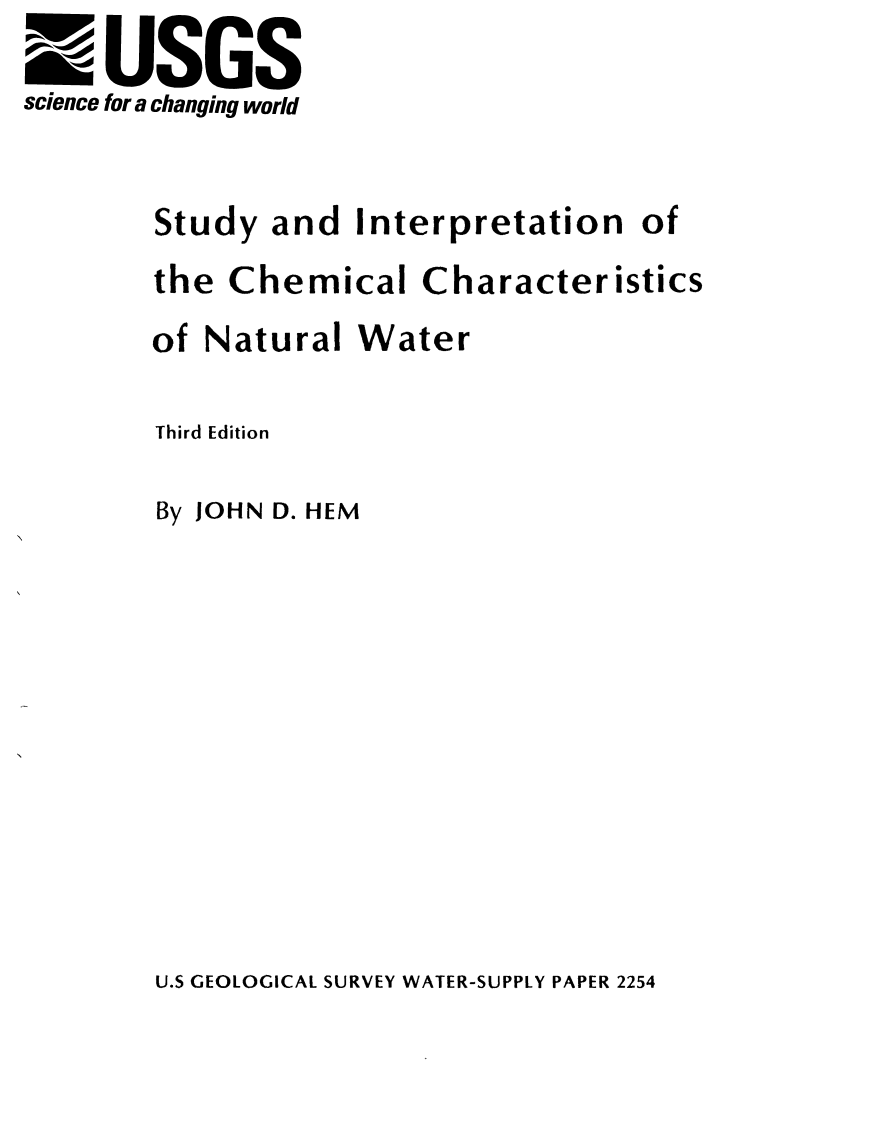 Thumbnail image of document cover: Study and Interpretation of the Chemical Characteristics of Natural Water