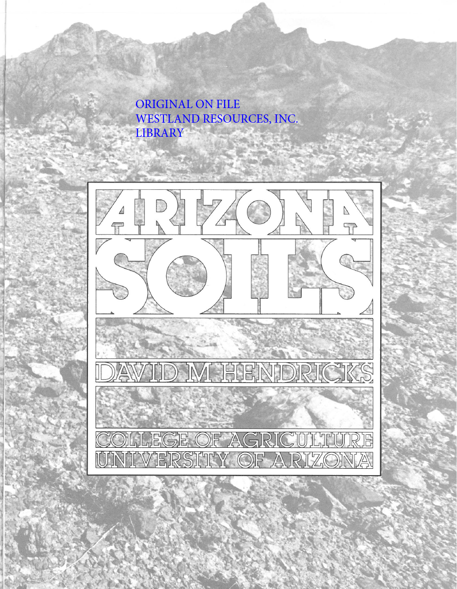 Thumbnail image of document cover: Arizona Soils