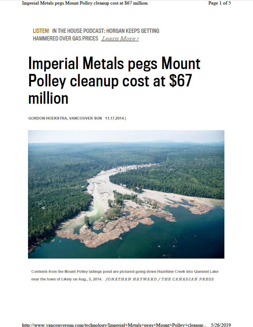 Thumbnail image of document cover: Imperial Metals Pegs Mount Polley Cleanup Cost at $67 Million