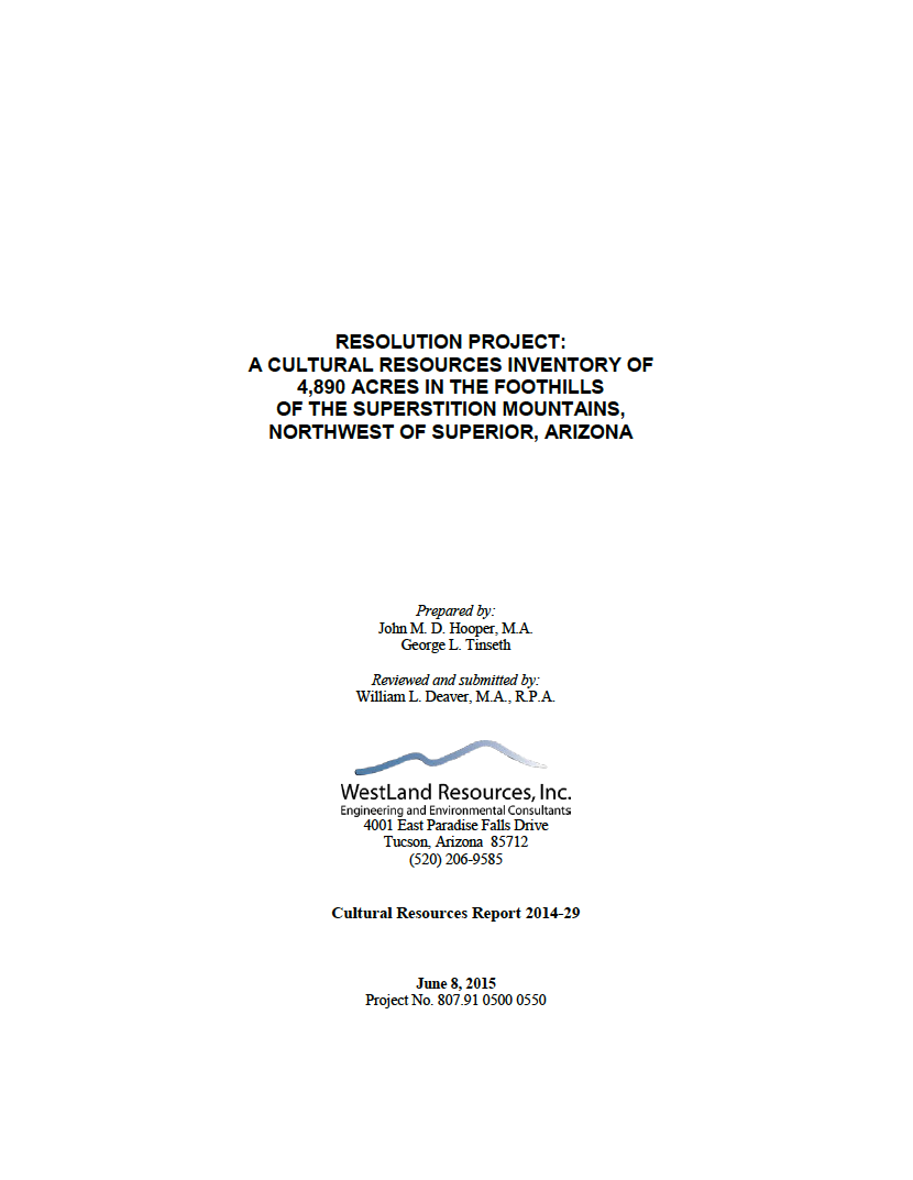 Thumbnail image of document cover: A Cultural Resources Inventory of 4,890 Acres in the Foothills of the Supersition Mountains, Northwest of Superior, Arizona