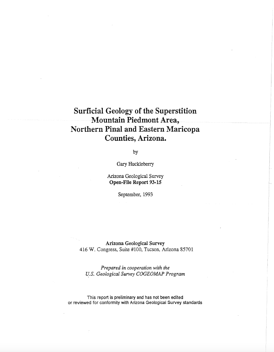 Thumbnail image of document cover: Surficial Geology of the Superstition Mountain Piedmont Area, Northern Pinal and Eastern Maricopa Counties, Arizona