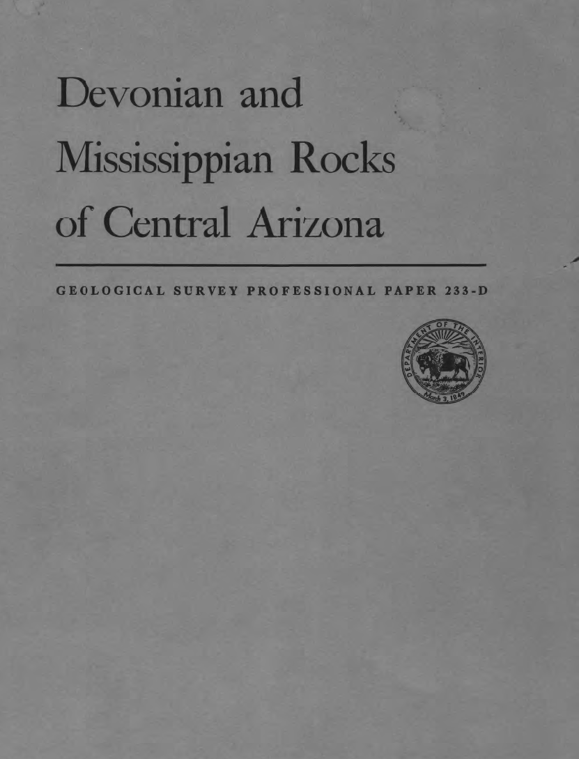 Thumbnail image of document cover: Devonian and Mississippian Rocks of Central Arizona
