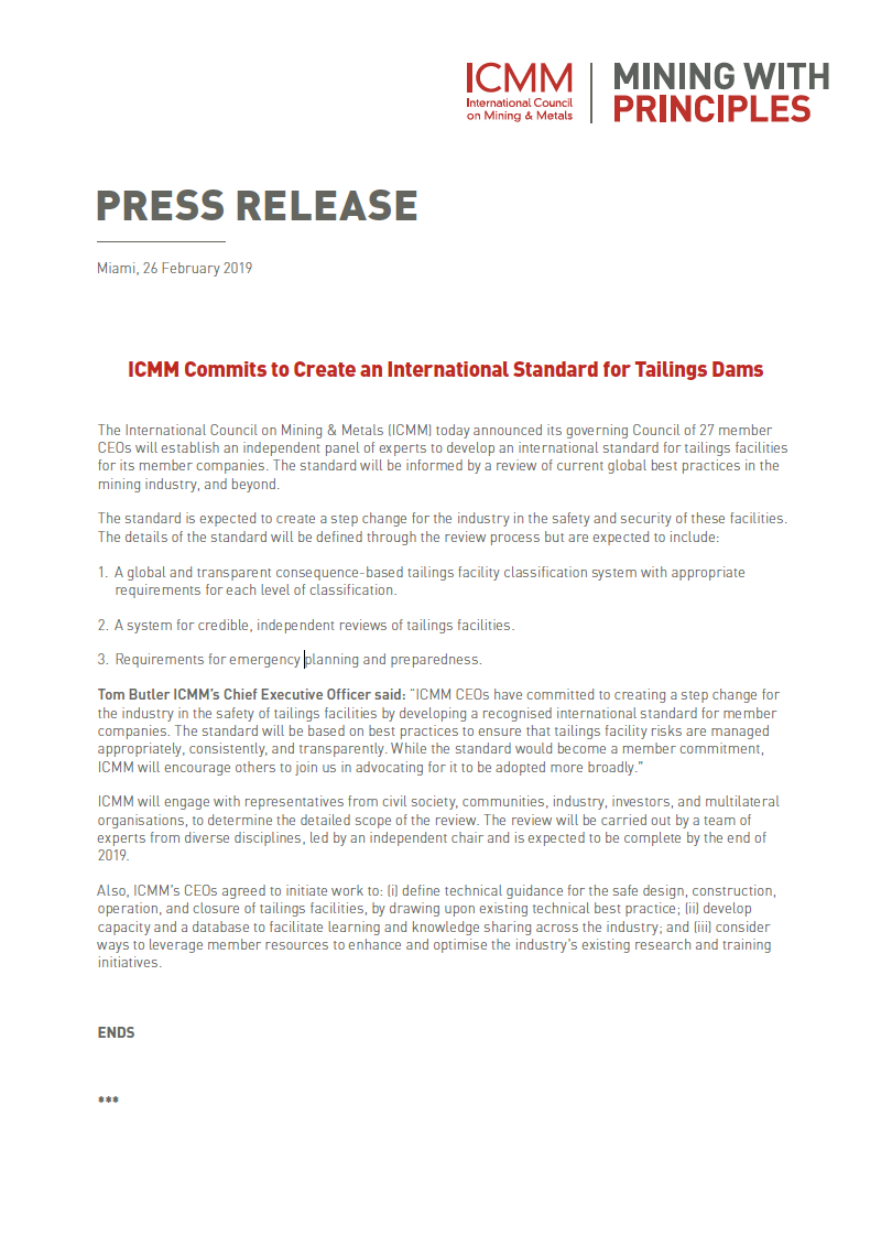 Thumbnail image of document cover: ICMM Commits to Create an International Standard for Tailings Dams