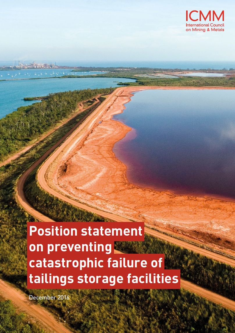 Thumbnail image of document cover: Position Statement on Preventing Catastrophic Failure of Tailings Storage Facilities