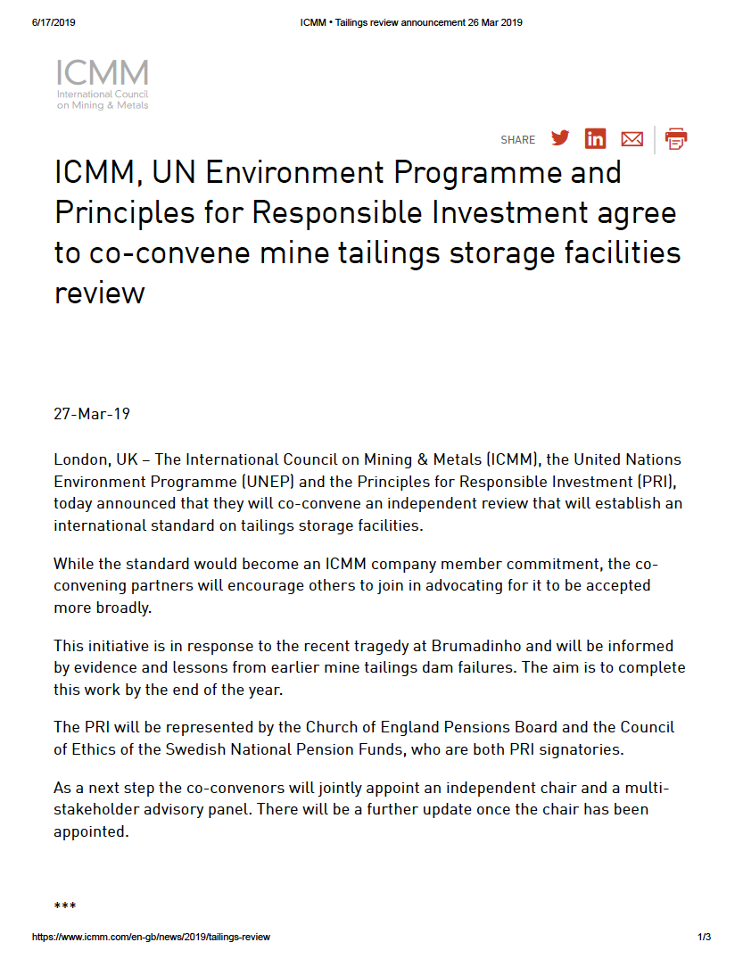 Thumbnail image of document cover: ICMM, UN Environment Programme and Principals for Responsible Investment Agree to Co-convene Mine Tailings Storage Facilities Review