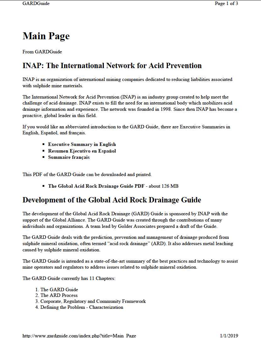 Thumbnail image of document cover: Global Acid Rock Drainage Guide (GARD Guide)