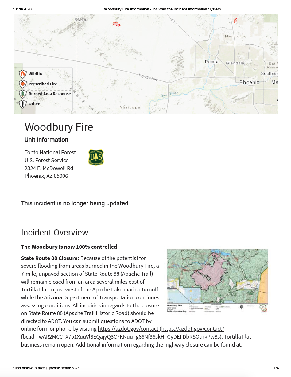 Thumbnail image of document cover: Incident Information System: Woodbury Fire Incident Overview