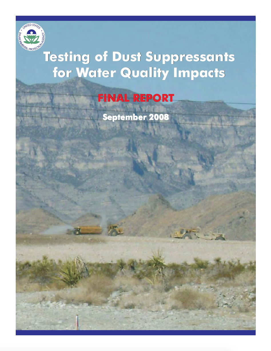 Thumbnail image of document cover: Testing of Dust Suppressants for Water Quality