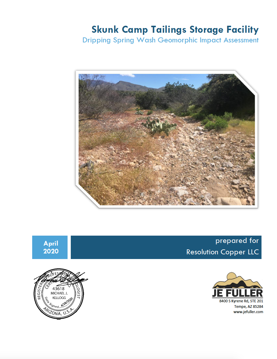 Thumbnail image of document cover: Skunk Camp Tailings Storage Facility: Dripping Springs Wash Geomorphic Impact Assessment