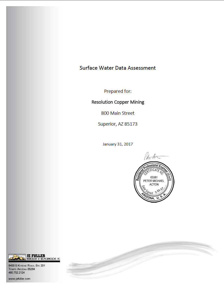 Thumbnail image of document cover: Surface Water Data Assessment