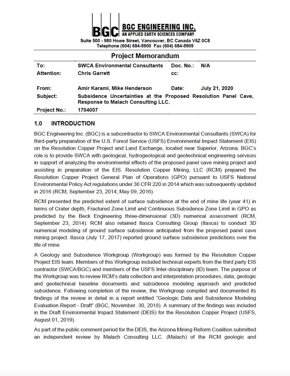 Thumbnail image of document cover: Subsidence Uncertainties at the Proposed Resolution Panel Cave, Response to Malach Consulting LLC