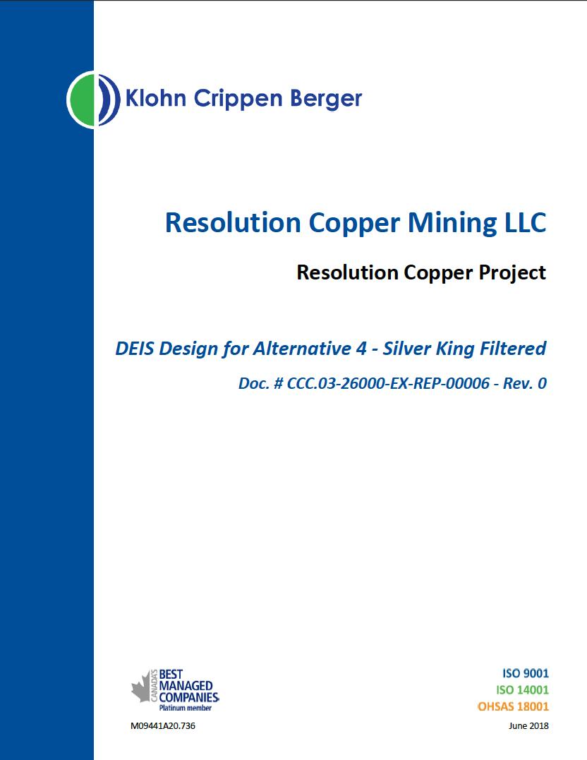 Thumbnail image of document cover: DEIS Design for Alternative 4 - Silver King Filtered