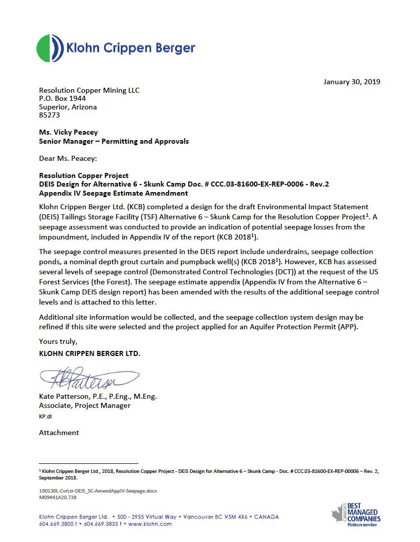 Thumbnail image of document cover: DEIS Design for Alternative 6 Skunk Camp, Appendix IV Seepage Estimate Amendment
