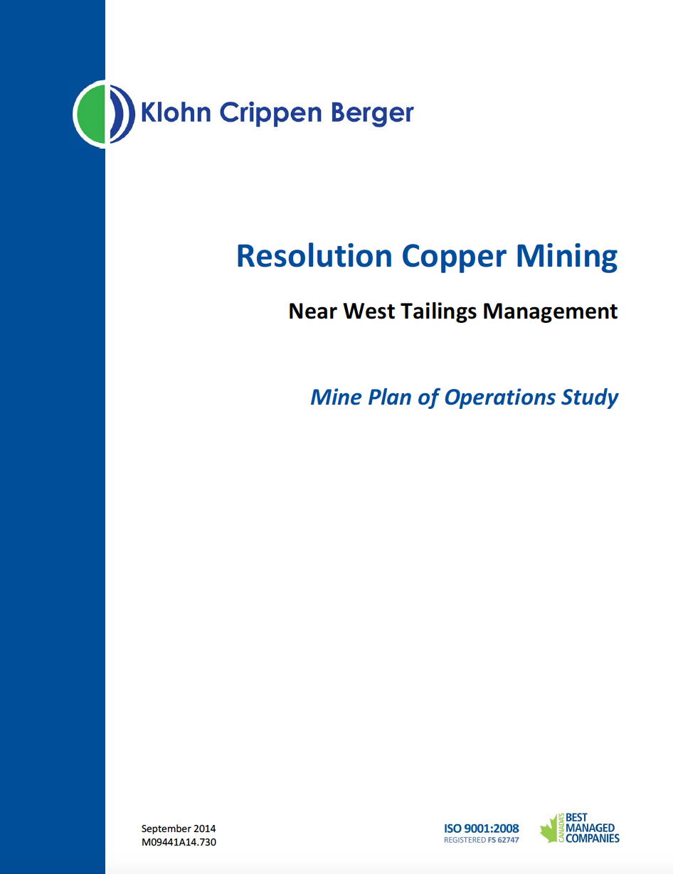 Thumbnail image of document cover: Resolution Copper Mining Near West Tailings Management Mine Plan of Operations Study