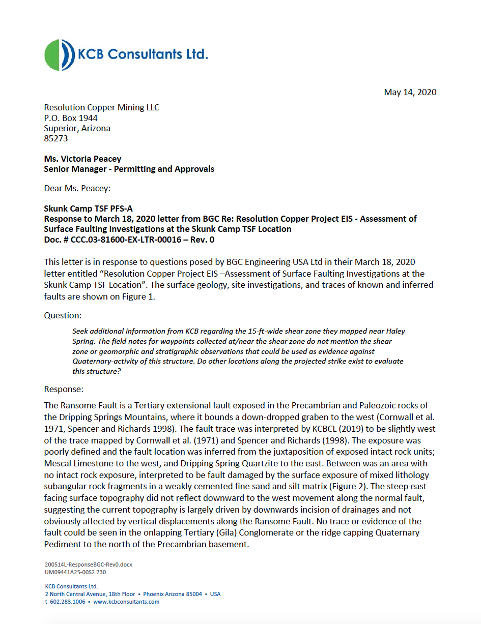 Thumbnail image of document cover: Response to March 18, 2020 letter from BGC Re: Resolution Copper Project EIS - Assessment of Surface Faulting Investigations at the Skunk Camp TSF Location