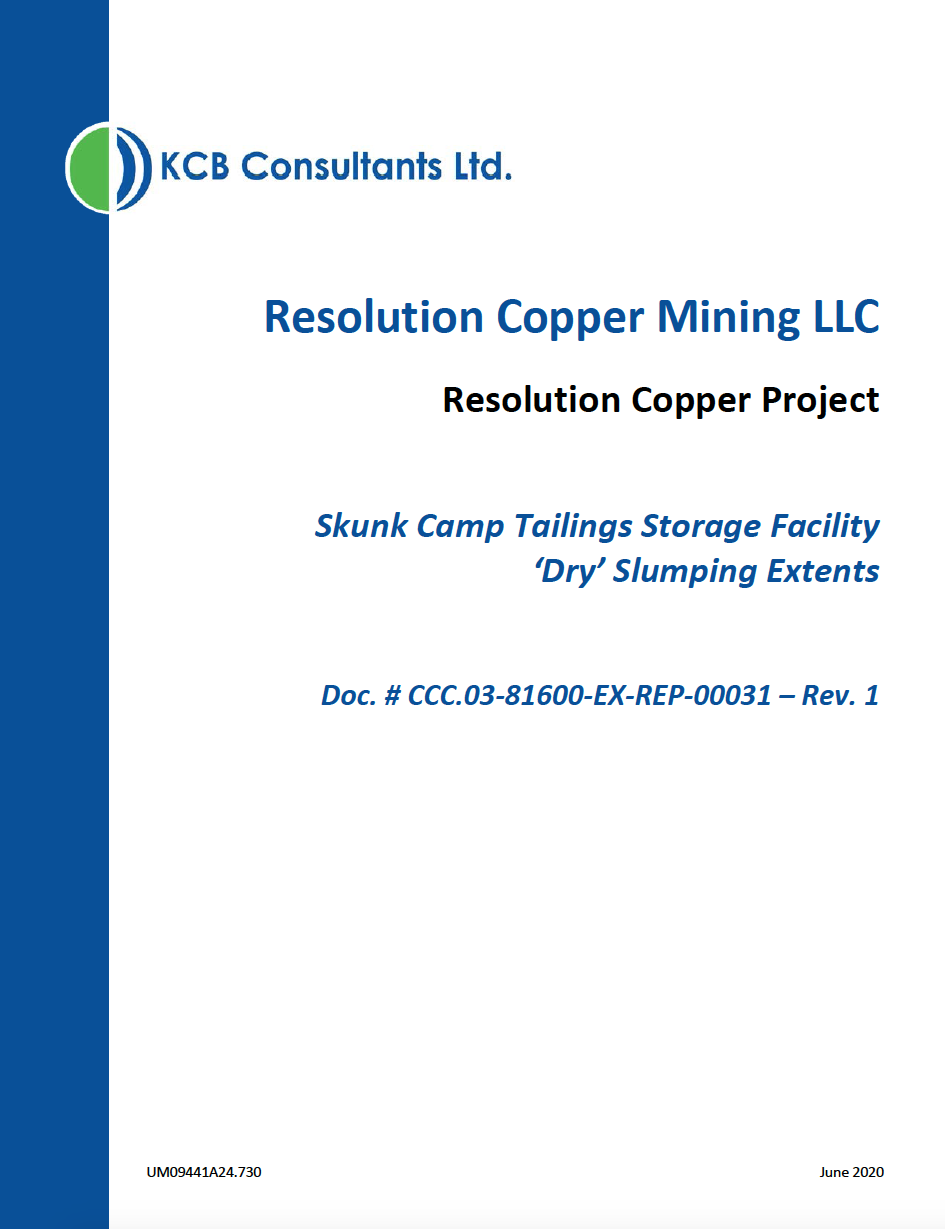 Thumbnail image of document cover: Skunk Camp Tailings Storage Facility 'Dry' Slumping Extents