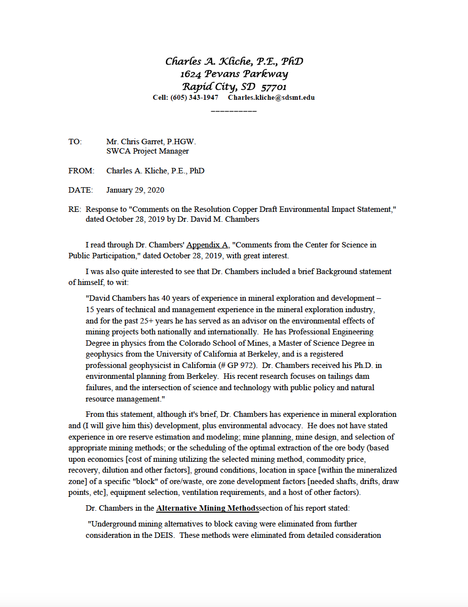 "Thumbnail image of document cover: Response to ""Comments on the Resolution Copper Draft Environmental Impact Statement"""